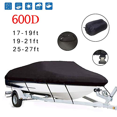 Best Bargain BODOGY-KB 600D Anti-UV Trailerable Boat Cover, Windproof and Rainproof Protection Oxfor...