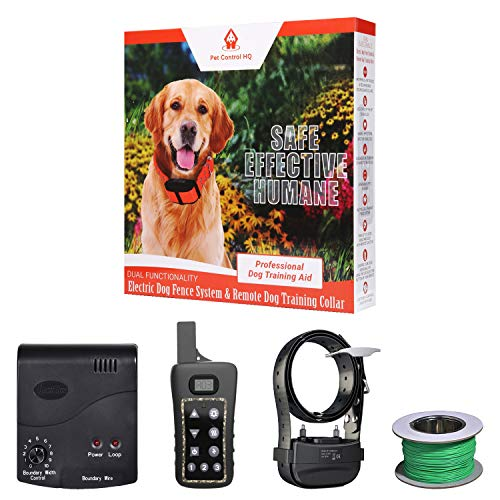 2-in-1 Remote Wireless Dog Training Collar and Electric Fence | Safely Train and Contain Dogs with...
