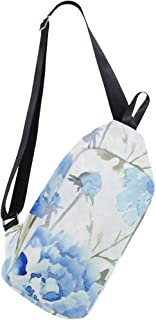 Mens Crossbody bag Blue Watercolor Carnation Chest Backpack for Travel Hiking