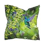 QMIN - Pañuelo cuadrado de seda con diseño de colibrí, diseño de flores, pañuelo de pelo ligero, para mujer, 60 x 60 cm