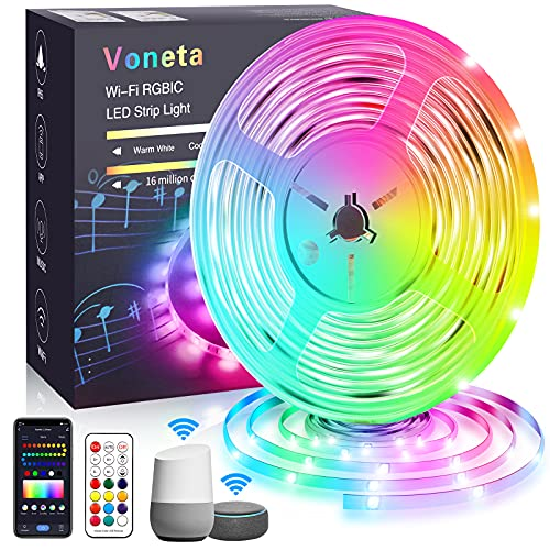 LED Strip 5m Alexa Smart RGBIC WiFi LED Streifen Wasserdicht, LED Lichterkette Band App Steuerung WLAN mit Alexa und Google Assistant,Musik Sync Farbwechsel Deko für Schlafzimmer Weihnachten Party