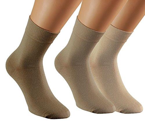 Vitasox 43010 Damen Herren Socken Bambus Kurzschaftsocken ohne Gummi Natur- Töne 35/38