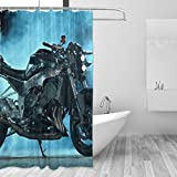 COOSUN Sport-Motorrad-Fahrrad-Duschvorhang Set Polyester-Gewebe Wasserabweisend Badezimmer Duschvorhang Set Hauptdekoration mit Haken, 60W X 72L Inche 60x72 Mehrfarbig
