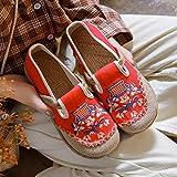 Jskdzfy Zapatos bordados hechos a mano para mujer, alpargatas planas de estilo japonés para mujer, de lino y algodón, transpirables, color rojo, talla 4