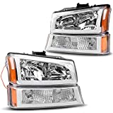 AUTOSAVER88 Headlight Assembly kit Compatible with 2003 2004 2005 2006 Chevy Avalanche Silverado 1500 2500 3500/2007 Chevrolet Silverado Classic Pickup Headlamp,Chrome Housing with Turn Signal Lamp
