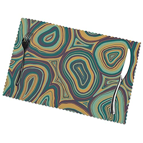 Set of 6 Placemats,Durable Washable Non-slip Table Mat Heat Resistant Holiday Place Mats for Dining Kitchen Restaurant Table,Hand Drawn Agate Slices Jewel Tones,12 X 18 Inch