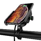 Soporte Movil Bicicleta Anti Vibración con 360 Rotación Soporte Movil Moto con función de Carga inalámbrica Adecuado para teléfonos Apple y Android