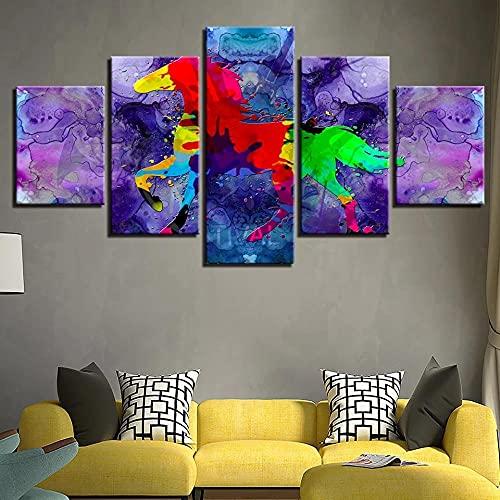 GHYTR Imagen sobre Lienzo Cuadros Abstractos Modernos XXL Poster 5 Piezas Abstracto Graffiti Color Animal Caballo Arte De Pared Imágenes Modulares Sala De Estar Decoración para El Hogar 150X80Cm