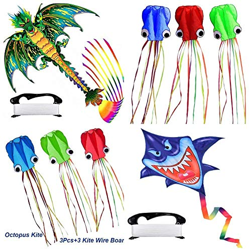 2 Pack Kites, 3D Shark Kite & 3D Big Dragon Kite with 9 Long-Perfect Tail Easy to Fly Beach Dinosaur Kites for Kids or Adult Beginner Professionals, Outdoor Trip Camping Competition Fun Sports Kites