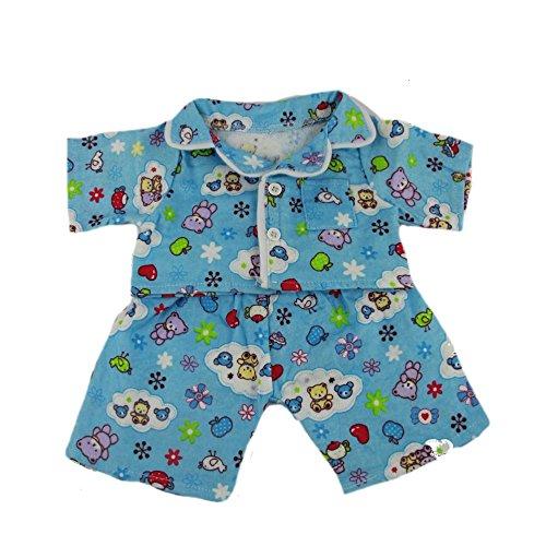 Splodge Teddy Parties niedlichen blauen Pyjama, Kleid Teddybär Outfit Kleidung, für Teddybären von 20 cm bis 25 cm von Kopf bis Fuß, Taille 23cm-28cm
