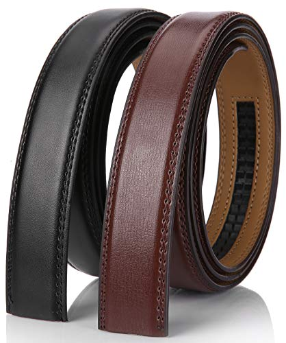 """Mio Marino Mens Genuine Leather Ratchet Belt Replacement Strap 1 1/8 Without Buckle - Black/Brown - Adjustable from 38"""" to 54"""" Waist"""