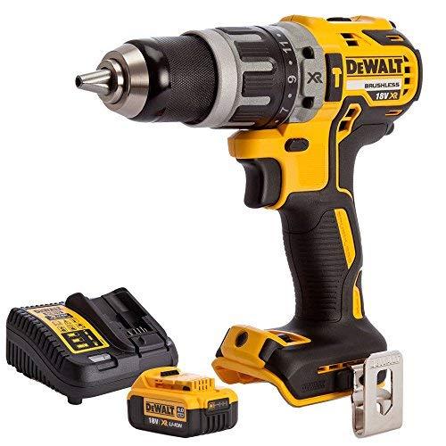 DEWALT DCD796N 18v XR Brushless 2 Speed Combi Drill + 1 x 4Ah DCB182 Battery & DCB115 Charger, 18 V