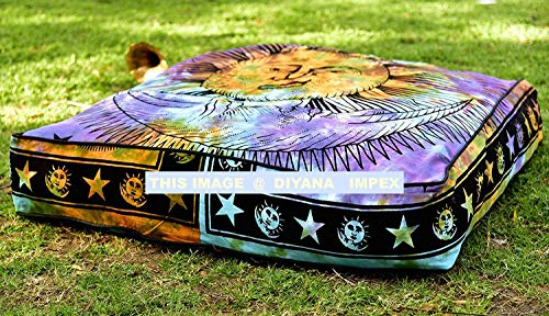 DIYANA IMPEX Sun & Moon Tie Dye Square Floor Pillow Large Ottoman Pouf Cover, Hippie Indian Seating Daybed Throw Sofa Cushion Cover Outdoor Dog Bed 35″ X 35″