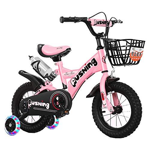 HUAQINEI Bicicleta para niños para niñas y niños de 2 a 5 años, Bicicleta para niños de 12 Pulgadas y 14 Pulgadas con Ruedas y Frenos de Mano