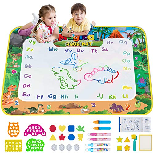 Obuby Water Magic Mat Kids Doodle 58 x 42 Inches Extra Large Dinosaur Drawing Coloring Mats Educational Toys Gifts for Boys Girls Toddlers Age 3 Up