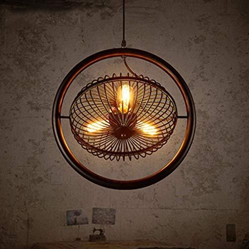 L-WSWS Lámparas colgantes moderno retro del estilo de la lámpara de la lámpara de techo lámpara antigua del ventilador bar lámpara del techo del paisaje Ventilador Industrial Light Luz Hierro ático Ve