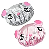 Product Image of the NKTM Children Shower Cap Cute Waterproof Double Layer Kids Cartoon Shower Hat 2 Pack