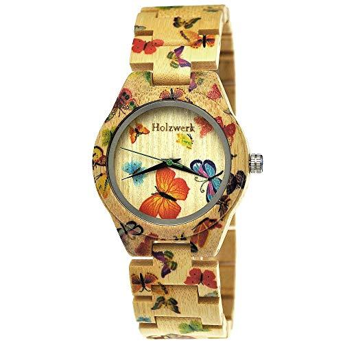 Handgefertigte Holzwerk Germany® Designer Damen-Uhr Öko Natur Holz-Uhr Armband-Uhr Analog Klassisch Quarz-Uhr mit Schmetterling Butterfly Motiv (Holzwerk-Schmetterling)