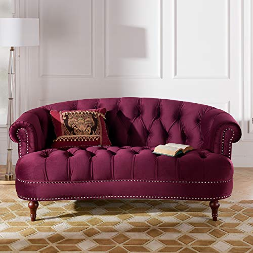 Jennifer Taylor Home La Rosa Collection Chesterfield Style Diamond Tufted Loveseat Sofa With Rolled Back Wooden Legs, Burgundy