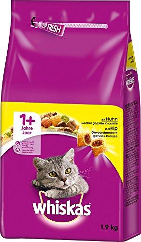 Whiskas Katzenfutter Trockenfutter Adult 1+ mit Huhn, 1 Beutel (1 x 1,9 kg)
