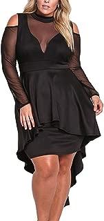 Women's Plus Size High Low Sexy Mesh Bodycon Mini Night Club Dress …