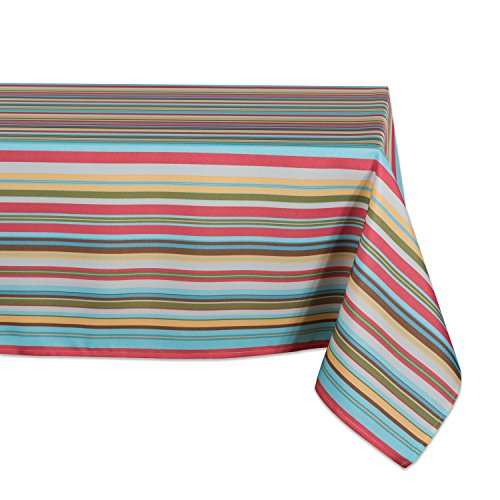 DII 100% Polyester, Spill Proof, Machine Washable, Tablecloth for Outdoor Use, 60x84, Warm Summer Stripe, Seats 6 to 8 People