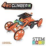 KwuLee DIY 4WD Climbing Car Assembly Robot Kits Panel Solar y Batería Robots Doble Modo Juguete Vehículos Eléctricos Modelo Stem Juguetes Experimento Científico para Niños Adolescentes (Naranja)