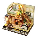 Casa Delle Bambole in Legno Fai Da Te, Miniatura Casa Delle Bambole con Mobili, Modello di Casa D'arte in Legno Fatto a Mano, Con copertura antipolvere (Cottage in Stile Giapponese)