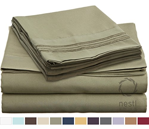 HIGHEST QUALITY Bed Sheet Set, #1 on Amazon, Queen Size, Sage Olive Green, - Super Soft, Silky Coziest Sheet – SALE! - Better than Cotton, Will Fit Deep Pocketed Mattresses - Wrinkle, Stain and Fade Resistant Hypoallergenic Fabric - Set Includes Luxury Fitted and Flat Sheets and Pillow Cases. Ideal for Your Bed! Best for Your Bedroom, Guest or Children's Room, Vacation Home and RV - Makes an Excellent Gift - LIFETIME 100% Included - Nestl Bedding