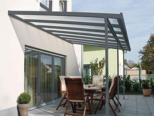 Gutta Terrassendachsystem Terrassenüberdachung Terrasse Überdachung Alu Anthrazit 3x3 4,2x3 5,4x3 m (4,2 x 3 m)