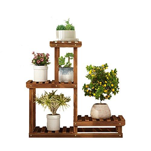 Étagère à fleurs multicouche 3 niveaux en bois intérieur fleur pot étagère anti-corrosion étagère de rangement plante stand multi-couche jardin présentoir étagère de fleur salon chambre balcon décora