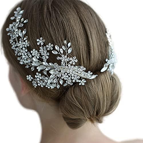 ULAPANULAPAN - Diadema de boda con cristales de estrás plateados, accesorio para el pelo de novia para mujer, HP253-7-2, 1.00[set de ]