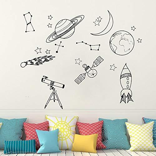 Ajcwhml Pegatina de Pared de Vinilo Espacial para decoración de Habitaciones de niños, calcomanías de Pared del Espacio Exterior, calcomanía de Astronauta de Nave Espacial, decoración de d 42x52cm