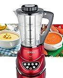Sogo BAT-SS-14600 Robot de cocina 2 en 1 con batidora y máquina para hacer sopa, 280 W, 1.7 litros, Plástico, Rojo