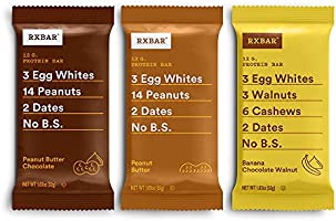RXBAR Peanut Butter, Chocolate Peanut Butter, Banana Chocolate Walnut Variety Pack, Protein Bar, High Protein Snack,...