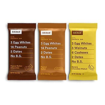 RXBAR Peanut Butter Chocolate Peanut Butter Banana Chocolate Walnut Variety Pack Protein Bar High Protein Snack Gluten Free 1.83 Ounce 24 Count