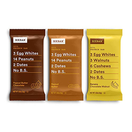 RXBAR Peanut Butter, Chocolate Peanut Butter, Banana Chocolate Walnut Variety Pack, Protein Bar, High Protein Snack, Gluten Free, 1.83 Ounce, 24 Count