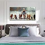 Mujer Tirando de un Grupo de Perros Lienzo Arte Cuadro Tamaño Grande Retro Dibujado a Mano Pintura al óleo Salón Dormitorio Hogar Pared Decor Pintura,Withframe,30x60cm