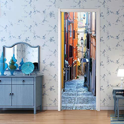 3D deurbehang zelfklevende deurposter - blik op de moderne straat - PVC waterdicht fotobehang deur sticker poster Home Decoration Festival Art Sticker 88x200cm A