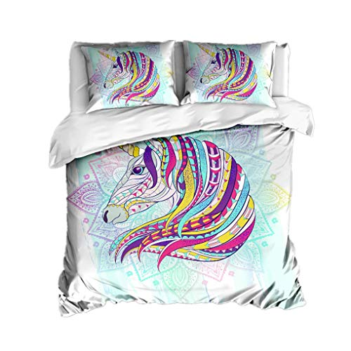695 HNHDDZ 3D Animal Mandala Bedding set Indian Bohemian Children Boys Girls Duvet Cover Unicorn Wolf lion Fox Deer Koala Color Feather Wind Chimes Quilt Cover With Zip (Style 1, King 220x240 cm)