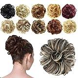 Feshfen - Coletero con extensiones de cabello en forma de donut para cabello rizado y ondulado La cornuda sintética estirada, el cabello torcido, el pelo rizado apropiado para una cornuda.
