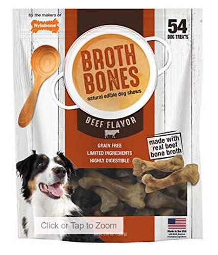 Nylabone Dog Treat Broth Bones Natural Dog Chews Grain Free Digestible Real Beef 238 LB 54 Treats