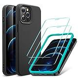ESR iPhone 12 ケース iPhone 12 Pro ケース フィルム2枚付属 6.1インチ 2020型 快適な握り心地 ケースとフィルムセット ブラック