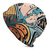 Sherly Yard Bonnet Beanie Classique plissé,Espace Homme et Femme Valentines Kissing,Bonnet Beanie Long,Unisexe