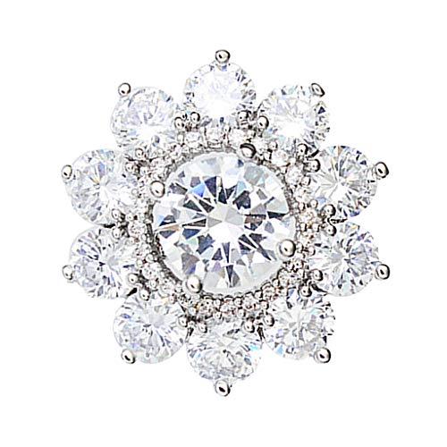 Colcolo Broche de Boda con Incrustaciones de Diamantes de Imitación en El Pecho - Plata - 2 X 2 Cm -