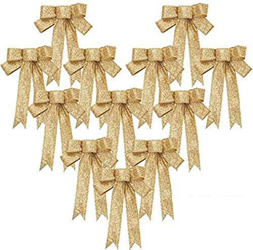 Aomier Pack of 12 Bow Decoration Gold Large Bows Christmas Decoration Gift Bow Birthday Christmas Garland