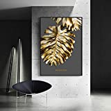 Pintura sin Marco Nordic Gold Foil Abstract Flower Wall Art Lienzo Pintura Pluma póster decoración ZGQ5526 50X70cm