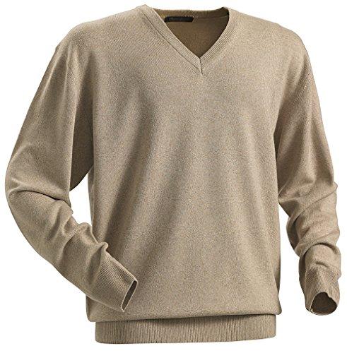 Royal Spencer Herren-Pullover mit V-Ausschnitt aus Kaschmir-Seide, Kaschmirpullover Beige, toller Winterpullover, angenehm zu tragen (Gr: M - XXL)
