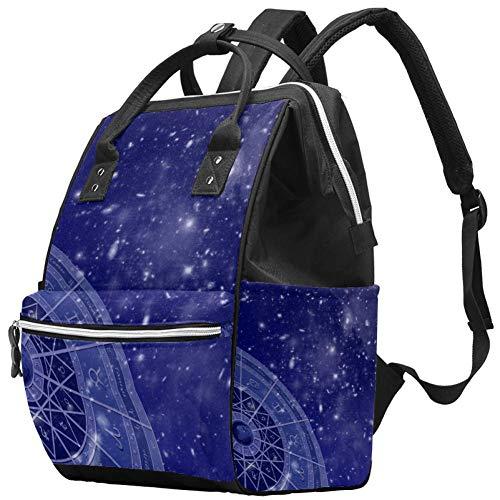 Champ d'étoiles du cercle du zodiaque Nappy Changing Bag Diaper Sac à dos avec poches isolées, sangles de poussette, grande capacité multifonctionnel élégant sac à couches pour maman papa en plein air