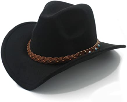 2019 Women 100% Wool Winter Spring Western Cowboy Hat for Womem Men Wide Brim Cowgirl Jazz Cap with Leather Toca Sombrero Cap Punk Belt 20 (Color : 1, Size : 57-58cm)
